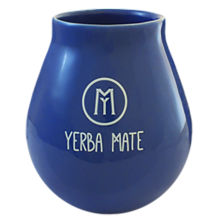 Ceramiczna Granatowa Tykwa z Napisem Yerba Mate - 450ml